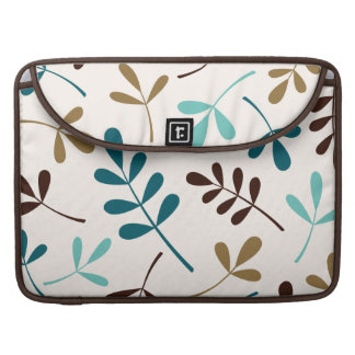 Large Assorted Leaves Teals Gold Brown on Cream MacBook Pro Sleeve