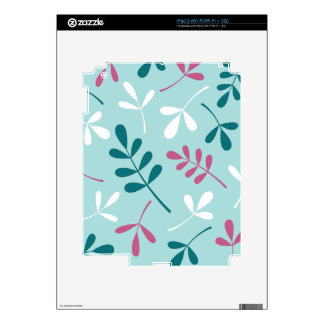 Large Assorted Leaves Teals White Pink Decal For iPad 2