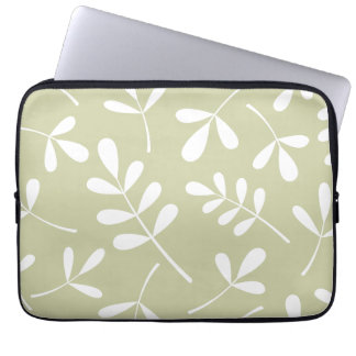 Large Assorted Leaves White on Lime Computer Sleeve