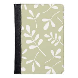 Large Assorted Leaves White on Lime Kindle Case