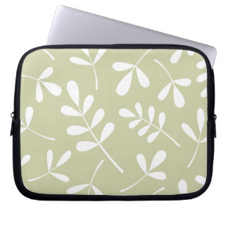 Large Assorted Leaves White on Lime Laptop Sleeve