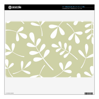Large Assorted Leaves White on Lime Skin For The MacBook