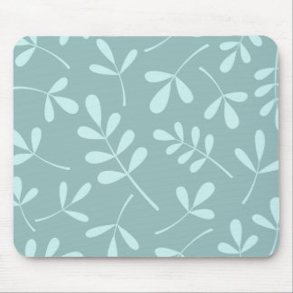Large Assorted Light on Mid Teal Leaves Design Mouse Pad