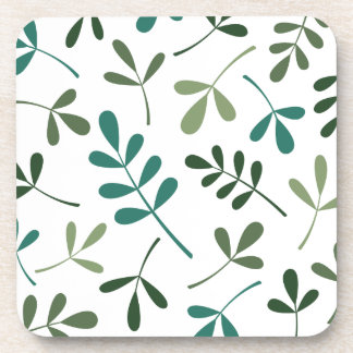 Large Assorted Mixed Green Leaves Design Drink Coaster