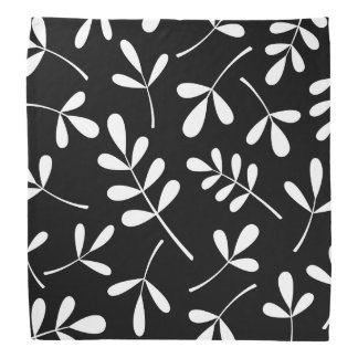 Large Assorted White Leaves on Black Design Bandana