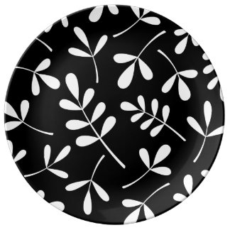 Large Assorted White Leaves on Black Design Dinner Plate