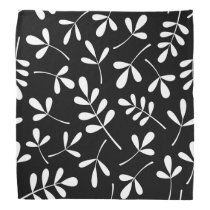 Large Assorted White Leaves on Black Pattern Bandana