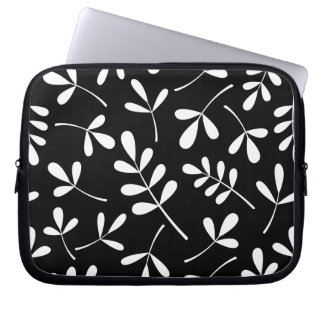 Large Assorted White Leaves on Black Pattern Laptop Sleeve