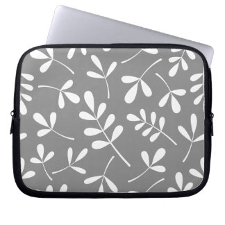 Large Assorted White Leaves on Grey Pattern Computer Sleeve