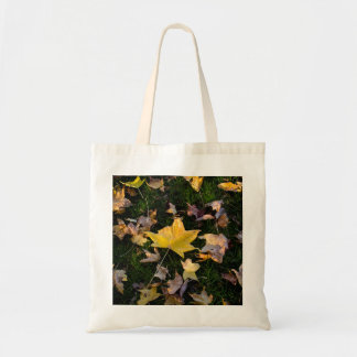 Large Autumn Leaf on Grass Tote Bag