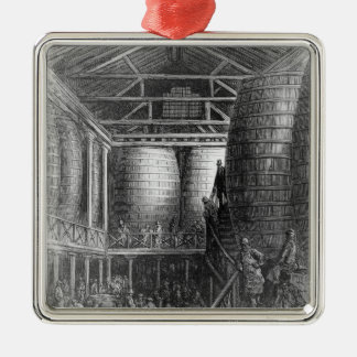 Large barrels in a brewery metal ornament