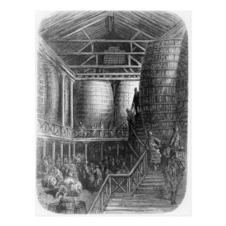 Large barrels in a brewery postcard