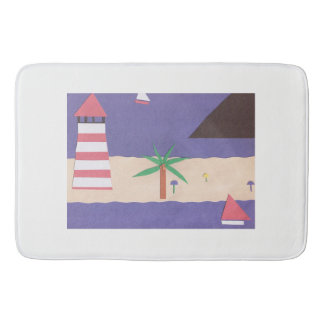 Large Bath Mat with Nautical Design