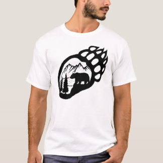 Large Bear Paw with Scenery T-Shirt