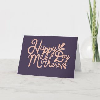 Large Beige Script Mother's Day Card