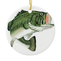 Large Big Mouth Bass Ceramic Ornament