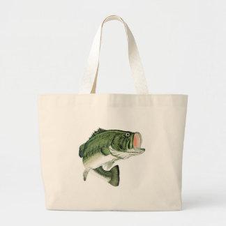 Large Big Mouth Bass Large Tote Bag