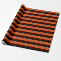 Large Black and Bright Orange Stripes Wrapping Paper