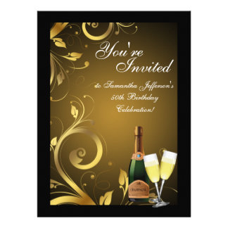 Large Black and Gold Swirl, Custom Birthday Party Invitation