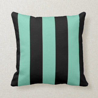 Large Black and Jade Stripes Reversible Throw Pillows