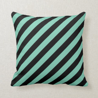 Large Black and Jade Stripes Reversible Throw Pillow