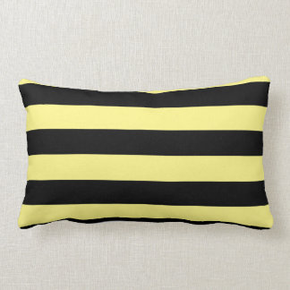 Large Black and Pale Yellow Stripes Reversible Throw Pillows