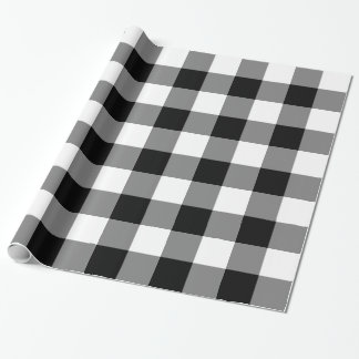 Large Black and White Gingham Gift Wrapping Paper