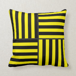 Large Black and Yellow Stripes Reversible Throw Pillow