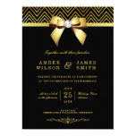 Large Black Gold Chevrons Diamond Bow Wedding Card