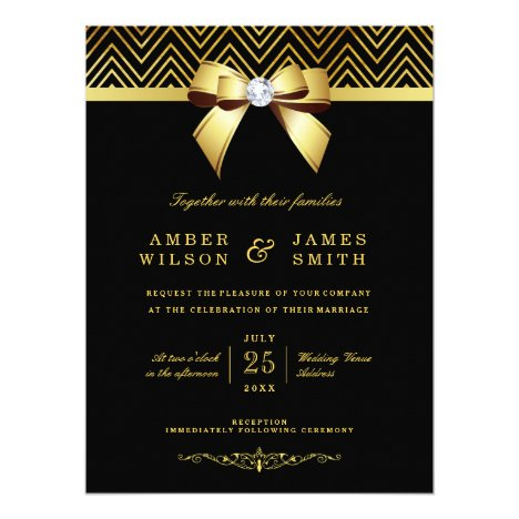 Large Black Gold Chevrons Diamond Bow Wedding