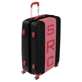 LARGE Black + Light Red Monogrammed Luggage