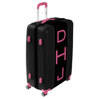 LARGE Black + Pink Personalized Monogram Luggage