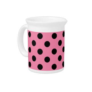 Large Black Polka Dots on hot pink Beverage Pitcher