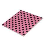 Large Black Polka Dots on hot pink Ceramic Tile