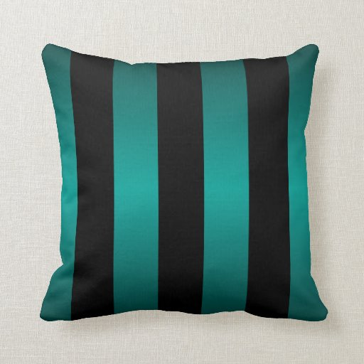 Teal And Black Decorative Pillows : Large Black Stripes and Bright Teal Pillows Zazzle