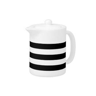large black stripes teapot