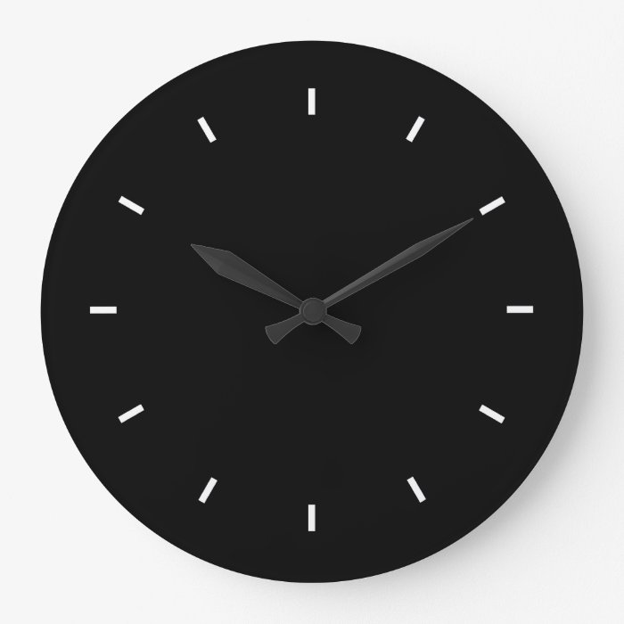 Large Black Wall Clock Round Zazzle