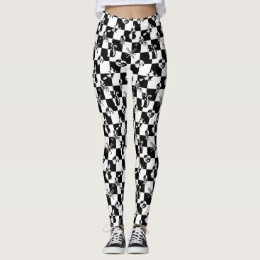 Beach Themed Large Black & White Vintage Halloween Disco Check Leggings