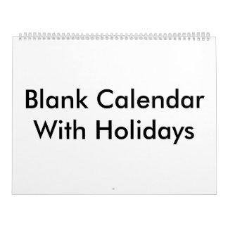 Large Blank Calendar With Holidays