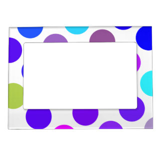Large Blue And Purple Dots Picture Frame Magnet