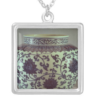 Large blue and white Ming vase Silver Plated Necklace