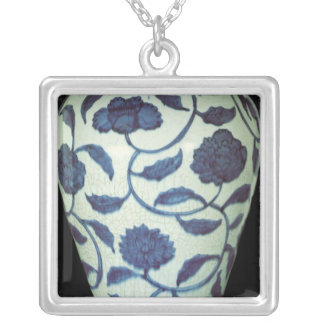 Large blue and white vase, Jaijing Period Silver Plated Necklace