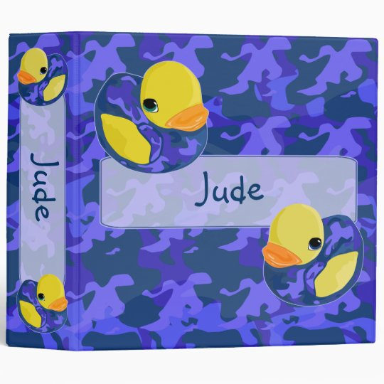Large Blue Camo Rubber Ducky Binder