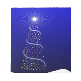 Large Blue Christmas Tree with Golden Stars Notepads