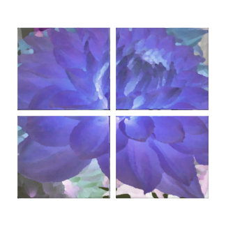 Large Blue Dahlia Gallery Wrapped Canvas