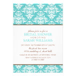 Large Blue Damask Bridal Shower Personalized Announcement