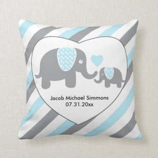 Large Blue, Gray and White Stripe Elephants Throw Pillow