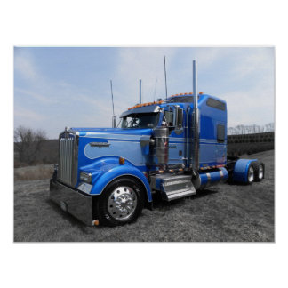 Large Blue Kenworth W900L Poster