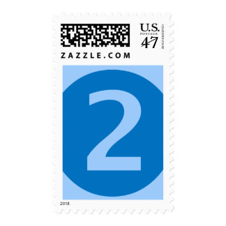 Large Blue on Blue Two Year Old Postage Stamp