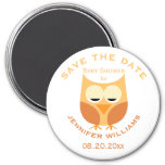 Large Blue Owl Boy Baby Shower Save The Date 3 Inch Round Magnet